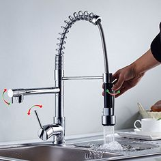 Best Kitchen Faucet | YanlsmartTM Durable Brass Modern Kitchen Basin Sink Pull Down Spout Single Handle Polished Chrome Finish Mixer Faucet Tap >>> You can get more details by clicking on the image. Note:It is Affiliate Link to Amazon.
