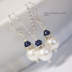 Sterling Silver Jewelry Set, White Pearl and Navy Jewelry Set, Bridesmaid Gift, Wedding Jewelry Set (Available in Other Colors) on Etsy, $22.74 CAD