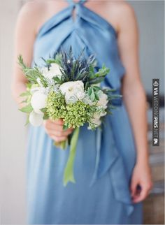 blue bridesmaid bouquet | CHECK OUT MORE IDEAS AT WEDDINGPINS.NET | #bridesmaids