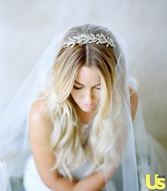 Lauren Conrad in the Jennifer Behr Arielle Chignon Wrap - she wore it as a tiara for the ceremony and added a veil and then changed to the back of her head for the reception. Available at www.jenniferbehr.com