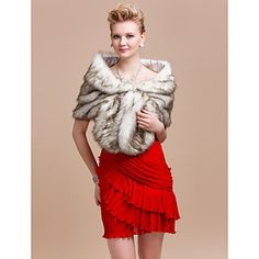 Elegant Faux Fox Fur Party/Evening/Wedding Shawl/Wrap – AUD $ 35.41