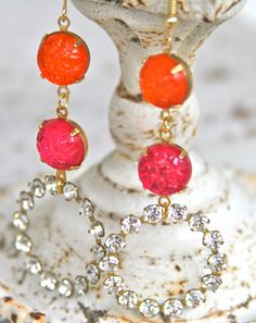 Orange and Pink Round Vintage Textured Clear by heathernn1 on Etsy, $38.00