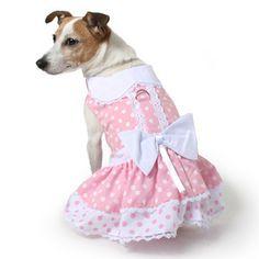 Pink and White Eyelet Dog Dress