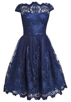 Chi Chi London Navy Baroque Style Midi Party Prom Dress Uk 6 8 10 12 14