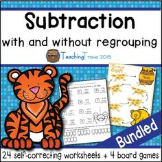 2 digit, 3+2 digit and 3 digit subtraction with and without regrouping - 24 self-correcting worksheets and 4 board games.