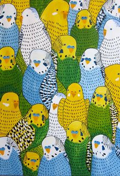 Birds - Johanna Burai gorgeous repeat pattern parakeet birds acrylic painting illustration // blue, yellow and green Cool Patterns, Textures Patterns, Print Patterns, Beautiful Patterns, Budgies, Parrots, Art Graphique, Art And Illustration, Design Illustrations