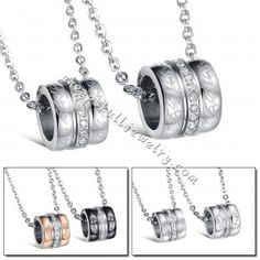 Stainless Steel Silver Puzzle Ring CZ Couples Pendant Chain Necklace for sale $39.98