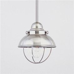 Nantucket Pendant- Brushed Stainless Earthy metal finished with seeded glass pendants from our popular Nantucket series illuminate with a nautical flair. UL damp location. 100 watts. (10Hx8W) 3 - 12 stems and one foot of chain included. Can be used on a vaulted ceiling. 100 watts  Product SKU: PE05006 STAINLESS Price:  $119.00