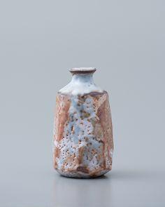 "Ken Matsuzaki-Sake bottle, yohen shino glaze, Stoneware, 5.25 x 3 x 3"""