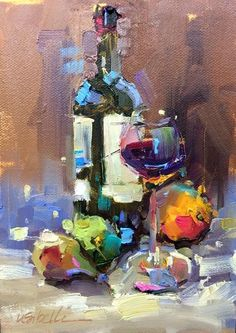 Natyre e qete5 Wine Painting, Oil Painting Abstract, Watercolor Art, Bottle Painting, Paintings I Love, Beautiful Paintings, Wine Art, Still Life Art, Art Oil