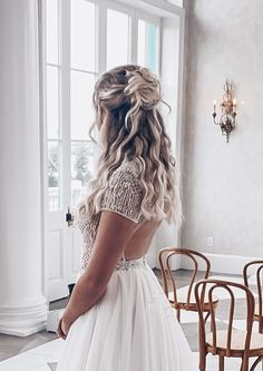 Bride Hairstyles, Down Hairstyles, Bridal Hair Half Up Half Down, Brides, Jackson, Backless, Party, Dresses, Fashion
