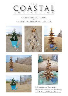 Coastal Holiday Beach Trees Card Set