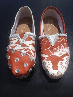 Custom hand painted University of Texas TOMS by PumpedUpKicks0101, $105.00