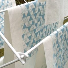 Duck Egg Blue Triangle Mania screen printed by BlueberryPark, £6.50