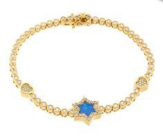 18K Gold ptd Sterling Silver Round Bezel CZ Tennis Bracelet with Star Created Opal Charm