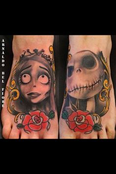 Nightmare Before Xmass and The Corpse Bride Tim Burton feet tattoos, Corpse Bride and Jack Skellington