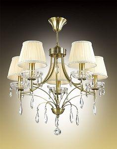Люстра потолочная Odeon Light TAVERA 2917/5C бронзовый/абажур ткань/подвески хрусталь