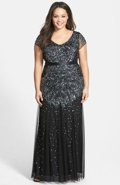 Adrianna Papell Beaded V-Neck Gown (Plus Size) | Nordstrom