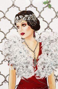 Art Deco Lady with Feather Boa Art Deco Illustration, Illustrations, Dibujos Pin Up, Art Nouveau, Art Deco Cards, Art Deco Stil, Art Deco Posters, Up Girl, Elegant Woman