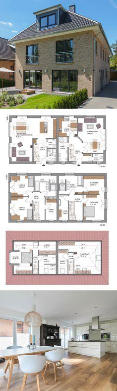 Zweifamilienhaus modern mit Klinker Fassade & Walmdach Architektur - Massivhaus bauen Grundriss Doppelhaushälfte Stadtvilla ECO Doppelhaus DUO Hamburg von ECO System Haus - HausbauDirekt.de