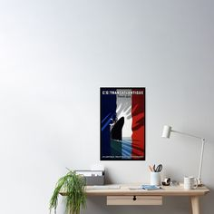 'Transatlantique French Line' Poster von stickart-marek Vintage Travel Posters, France, Decoration, Design, Poster Poster, Poster, Deko, Decor, Decorating