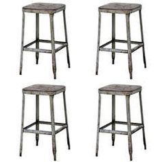 Set of Four 1940s Weathered Industrial Counter Height Stools