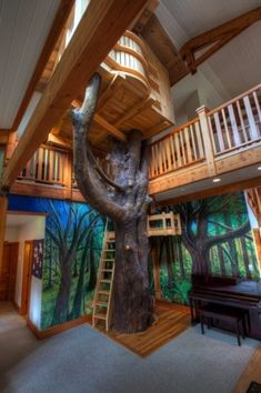 Some might think an indoor tree house defeats the purpose, but imagine this is your actual room. In your house. That you live in. AWESOME.