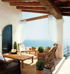 Patio with a view of the sea.