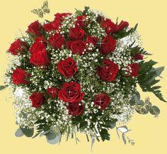 Ramo de rosas rojas brillantes
