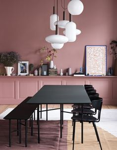Ferm Living have decorated a classic, old apartment in Amagertorv, Copenhagen. Ferm Living Home interiors home decor pink Peach decor. Picture accessories Scandi design modern on trend Scandinavian Decor Interior Design, Interior Decorating, Interior Wall Colors, Deco Rose, Turbulence Deco, Dining Room Lighting, Kitchen Lighting, Chandelier Lighting, White Chandelier