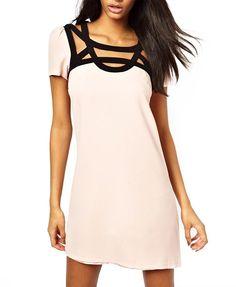 Lace Cross Shoulder Cutout Short Sleeves Light Pink Dress
