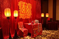 A typically decorated nuptial chamber in Chinese traditional wedding and Chinese traditional operas. Red is the dominant color in the Chinese traditional wedding, for it's the symbol of auspice and prosperity.