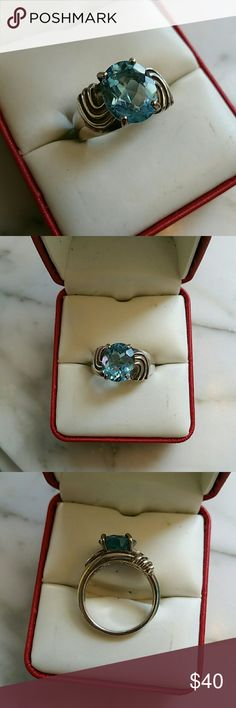 Sterling silver blue topaz ring. Size 8 This ring is more stunning in person. sterling silver Jewelry Rings