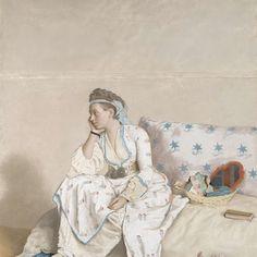 Portret van Marie Fargues, echtgenote van de kunstenaar, in Turks kostuum, Jean-Etienne Liotard, 1756 - 1758 - Rijksmuseum