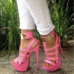 Pink Gold Strappy Studded High Heel Wedges  Shoes Hot