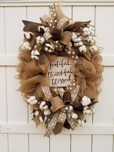 Burlap Mesh Wreath, Cotton Wreath, Grateful Thankful Blessed Wreath, Farmhouse Wreath, Natural Wreat Diy Fall Wreath, Wreath Crafts, Holiday Wreaths, Burlap Wreaths, Spring Wreaths, Ribbon Wreaths, Tulle Wreath, Winter Wreaths, Summer Wreath