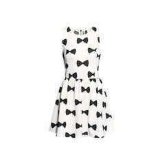 White Bow Print Skater Dress DR0150034 ($23) ❤ liked on Polyvore featuring dresses, white, bow print dress, white a line dress, print dress, round neck sleeveless dress and pattern dress