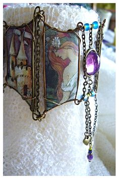 Collage Cuff  Pixie Land by CoCoJoJoOriginals on Etsy, $129.00