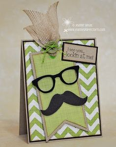 """Totally cute & easy to make with the """"Mustaches & Glasses"""" cartridge! Fun Fold Cards, Folded Cards, Cute Cards, Diy Cards, Birthday Cards For Men, Handmade Birthday Cards, Mustache Cards, Moustache, Fathers Day Cards"""