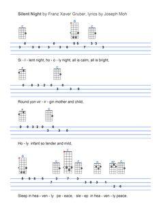 Silent Night Ukulele Tabs Songs, Ukulele Fingerpicking Songs, Ukulele Songs Beginner, Uke Tabs, Music Tabs, Guitar Chords For Songs, Lyrics And Chords, Christmas Ukulele Songs, Silent Night