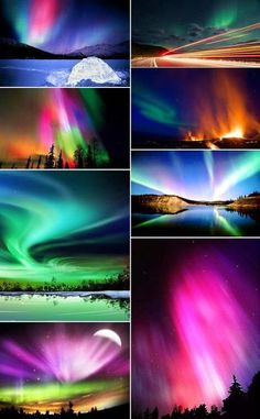 The Aurora Borealis (Northern Lights) & the Aurora Australis (Southern Lights) are brilliant light shows in the earth's atmosphere. The auroras occur when highly charged electrons from the solar wind interact with elements in the earth's atmosphere. Solar winds stream away from the sun at speeds of about 1 million miles per hour. When they reach the earth, they follow the lines of magnetic force generated by the earth's core and flow through the magnetosphere