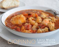 Lazy Man's Ciopinno, a simple but celebration-worthy stew packed with fresh fish and fresh shrimp in a light tomato-y broth. Shrimp Stew, Seafood Stew, Fish Stew, Seafood Recipes, Soup Recipes, Dinner Recipes, Cooking Recipes, Healthy Recipes, Shellfish Recipes