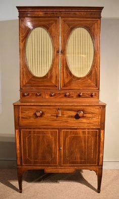 George III Sheraton Period Secretaire Cabinet - Antiques Atlas Walton House, Antique Bookcase, Georgian Furniture, Adjustable Shelving, China Cabinet, Period, Antiques, Home Decor, Antiquities