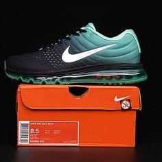best service 6622a 77d9e Nike Air Max 2017 Black Green Women Men Latest Style Shoes