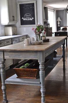 New kitchen farmhouse table islands I. New kitchen farmhouse table islands Ideas Farmhouse Kitchen Island, Kitchen Redo, Country Kitchen, New Kitchen, Kitchen Remodel, Kitchen Ideas, Kitchen Islands, Antique Kitchen Island, Kitchen Island Looks Like Table