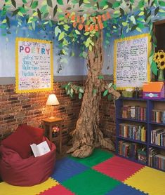 Great space for students to read relax and learn Features Fadeless Reclaimed Brick Fadeless Wispy Clouds Pacon Natural Kraft Wrapping Paper Tru-Ray Construction Paper Bordette Borders Pacon Anchor Charts and Classroom Keepers. Reading Corner Classroom, New Classroom, Classroom Setting, Classroom Design, Kindergarten Classroom, Classroom Themes, Reading Areas, Preschool Reading Corner, Garden Theme Classroom