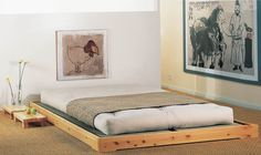 Solid wood contemporary double tatami bed - NOKIDO - Cinius