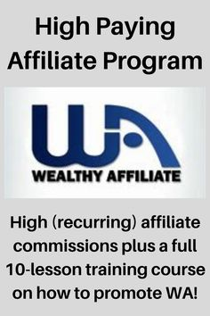 Wealthy Affiiate has one of the highest paying affiliate programs available anywhere online. You can earn consistent income by simply referring others to Wealthy Affiiate. Plus, they have a full training called Affiliate Bootcamp which teaches you, in 10 full lessons, how to promote Wealthy Affiliate! A high paying affiliate program with training on how to promote it. Can't beat it for making money at affiliate marketing. Small Business Marketing, Internet Marketing, Online Marketing, Online Business, Money Making Websites, Earn Money Online, Life Changing, Affiliate Marketing, Blogging