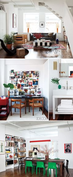 love the combination of classic and modern, old and new, white with pops of color. perfection.