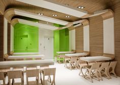 The UL DESIGN Architects decided to create an interior for the new type of restaurants specializing in fast food. Ecological character of this place is specified with the materials, which were used on the walls, ceiling or a chair. They are made of plywood. - The floor is made of resin, which was chosen to reduce the need for very strong cleaning products, which cause a lot of damage to the environment, particularly water. What's more, many of the elements of restaurant equipment comes fro